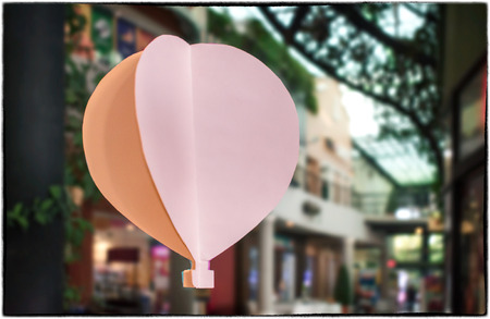 Colored Crafting Paper Hot Air Balloon Floating in a Shopping Mall