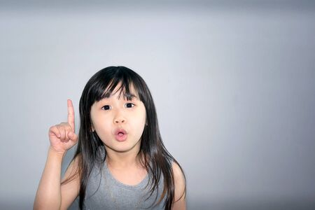 Asian Little Girl with an Idea and Eureka Moment