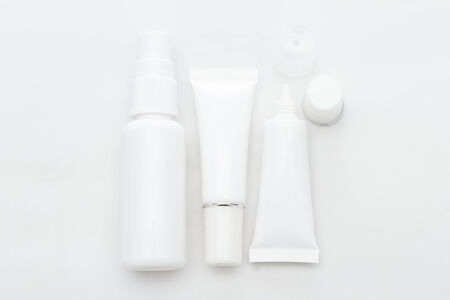 white cosmetic containers 写真素材