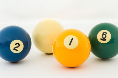 billiards halls: pool balls isolated on white Stock Photo