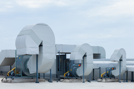 Industrial air conditioning units on a rooftop 写真素材