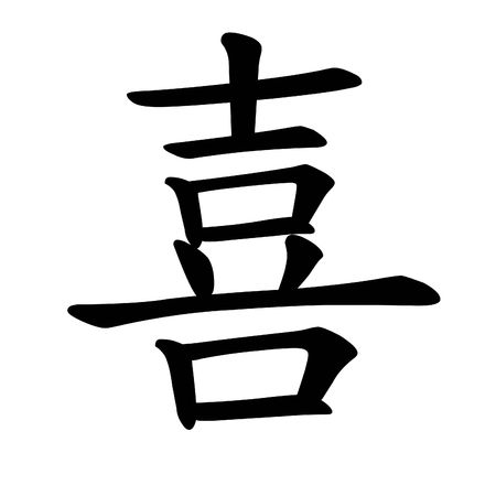 caligrafia: Happiness chinese character calligraphy