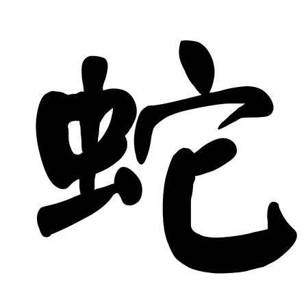 snake calligraphy: Chinese Calligraphy Character snake