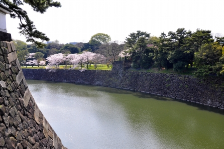 feudalism: Tokyo Edo castle with lakeview
