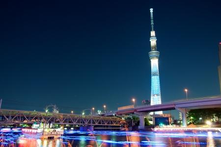 Tokyo skytree blue illumination beside sumida river, Tokyo, Japan