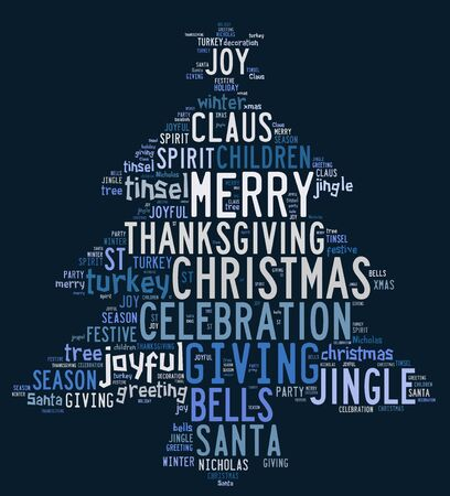 Christmas concept card of words in tag cloud on blue background