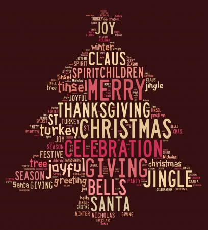 Christmas concept card of words in tag cloud on red background