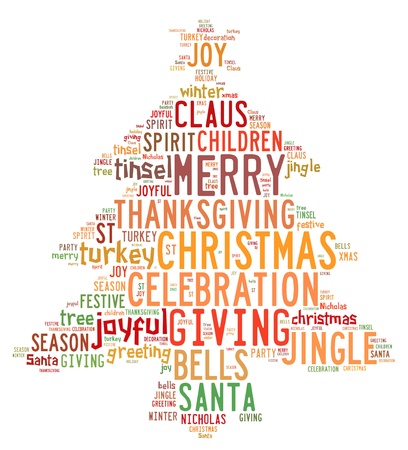 Christmas concept card of words in tag cloud on white background photo
