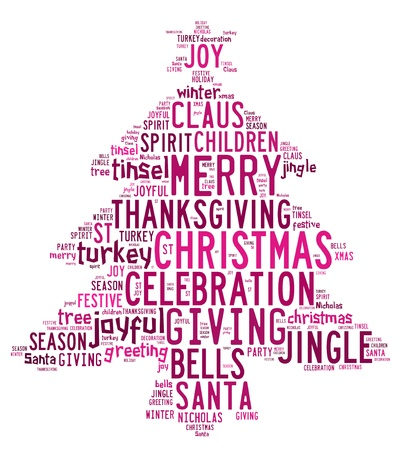 Christmas concept card of words in tag cloud on white background with pink words