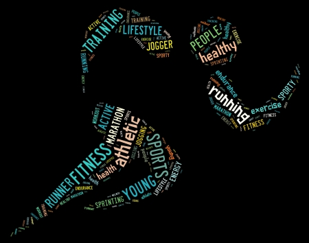 word cloud: athletic running pictogram with related wordings on black background with colorful words