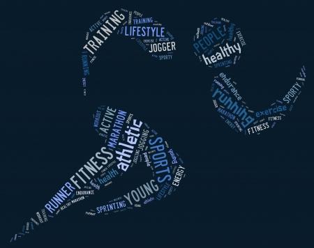 青色の背景に関連の文言とアスレチック ランニング ピクトグラム 写真素材