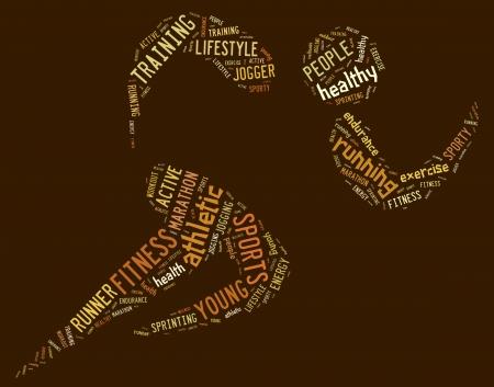 茶色の背景に関連の文言とアスレチック ランニング ピクトグラム