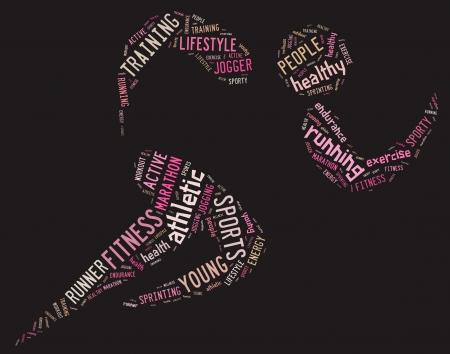 ピンクの背景関連の文言とアスレチック ランニング ピクトグラム