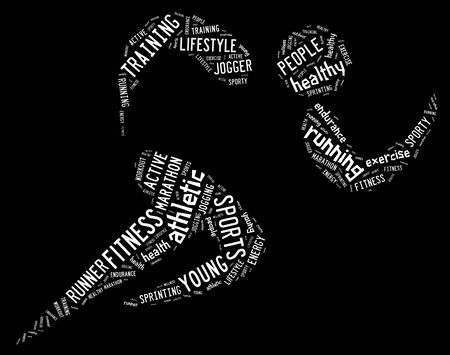 athletic running pictogram with related wordings on black background and white words Standard-Bild