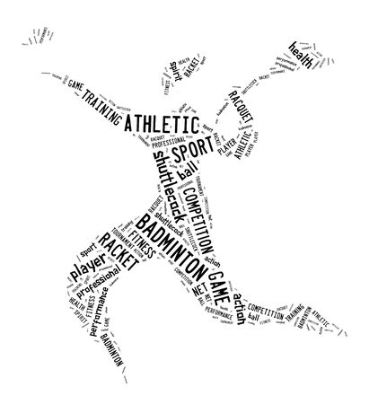 shuttlecock: badminton player pictogram with black color words on white background