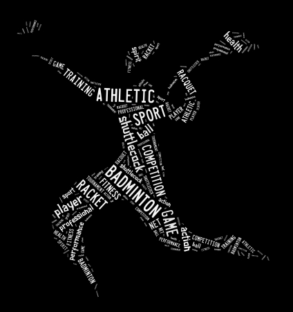 badminton player pictogram with white color words on black background photo