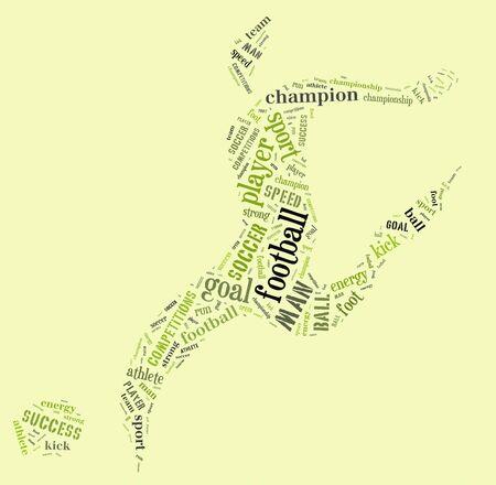 緑の背景に緑色の言葉とサッカー選手のピクトグラム 写真素材