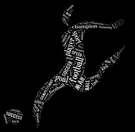 黒い背景に白い色の単語を持つフットボール選手ピクトグラム