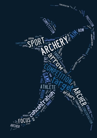 Archery pictogram with blue wordings on blue background photo