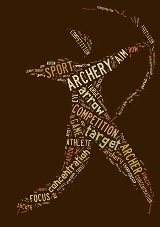 Archery pictogram with brown wordings on brown background photo