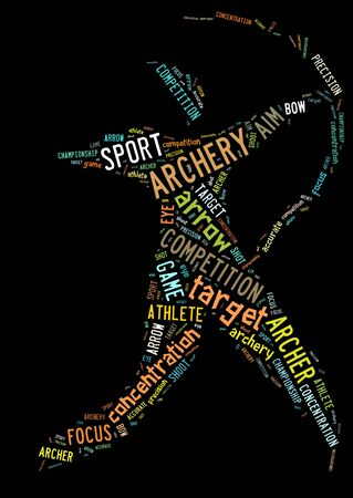 Archery pictogram with colorful words on black background photo