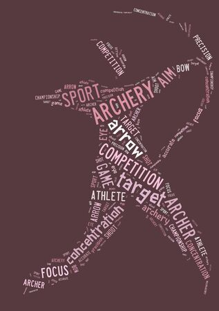 wordings: Archery  pictogram with pink wordings on pink background Stock Photo