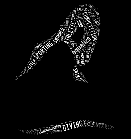 Diving pictogram with white wordings on black background photo