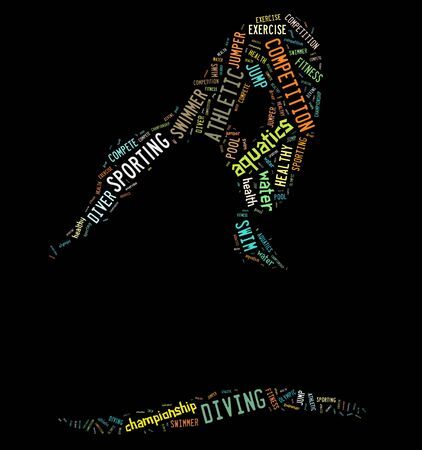 Diving pictogram with colorful words on black background photo