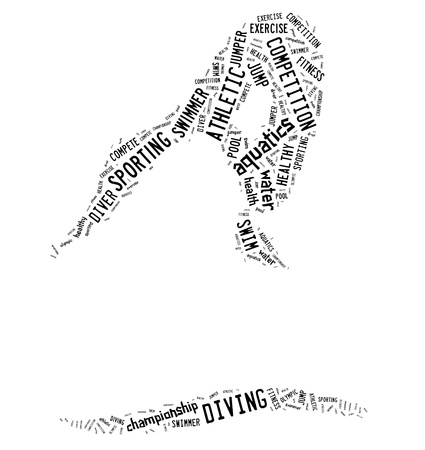 Diving pictogram with black wordings on white background