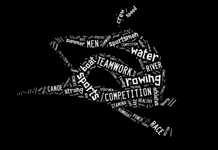 Rowing boat pictogram with white wordings on black background photo