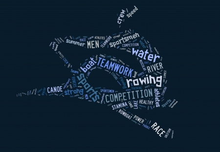 Rowing boat pictogram with blue wordings on blue background Stock Photo