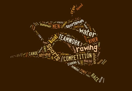 Rowing boat pictogram with brown wordings on brown background