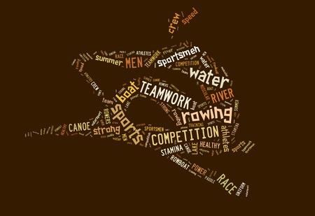 Ruderboot Piktogramm mit braunen Formulierungen auf braunem Hintergrund