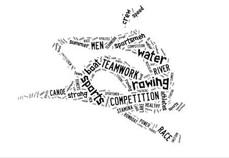 Rowing boat pictogram with black wordings on white background photo