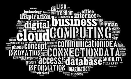 Cloud computing pictogram with white words on black background