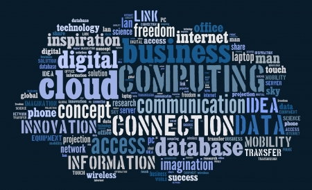 Cloud computing pictogram with blue and white words on blue background photo