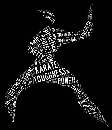 wordings: Karate pictogram with white wordings on black background Stock Photo
