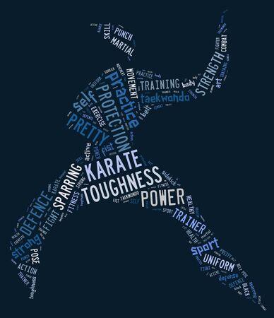 wordings: Karate pictogram with blue wordings on blue background