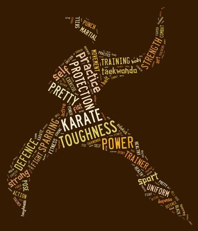 Karate pictogram with brown wordings on brown background photo