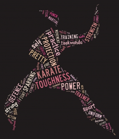 Karate pictogram with pink wordings on black background photo