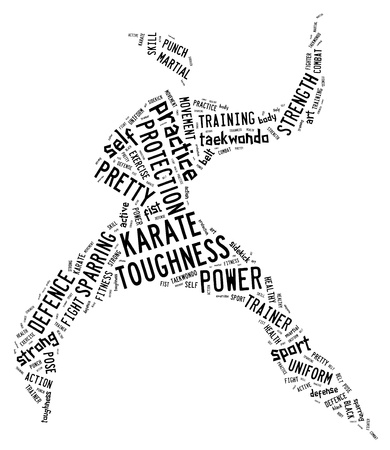 Karate pictogram with black wordings on white background
