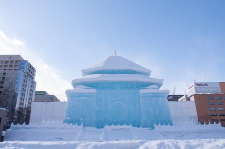 SAPPORO, JAPAN - FEB  6   Illuminated snow sculpture of The National Chiang Kai-shek Memorial Hall Taiwan  at Sapporo Snow Festival on February 6, 2013 in Sapporo, Hokkaido, japan  The Festival is held at Sapporo Odori Park  Stock Photo - 17985662