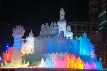 Sapporo, Japan - Feb. 9 2013 : Illuminated snow sculpture of The Land of Ice ~ Princess of White Wings at Sapporo Snow Festival 2013 in Sapporo, Hokkaido, japan. The Festival is held at Sapporo Odori Park. The festival is one of Japans largest winter eve Editorial