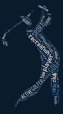 青の背景に青の文言とゴルフ ピクトグラム