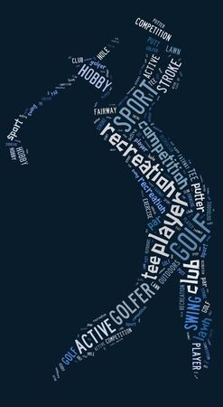 wordings: Golf pictogram with blue wordings on blue background
