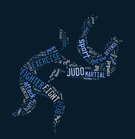 Judo pictogram with blue wordings on black background