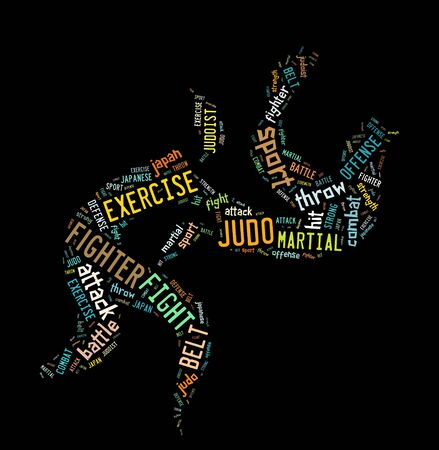 Judo pictogram with colorful wordings on black color background