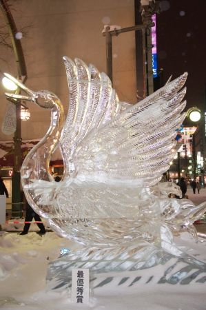 winning location: Red-crowned Crane at 33rd Susukino Ice Festival