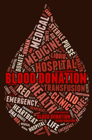 wordings: Blood donation pictogram with blood red wordings on red background