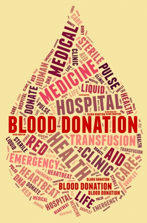 Blood donation pictogram with red wordings with serum yellow background photo